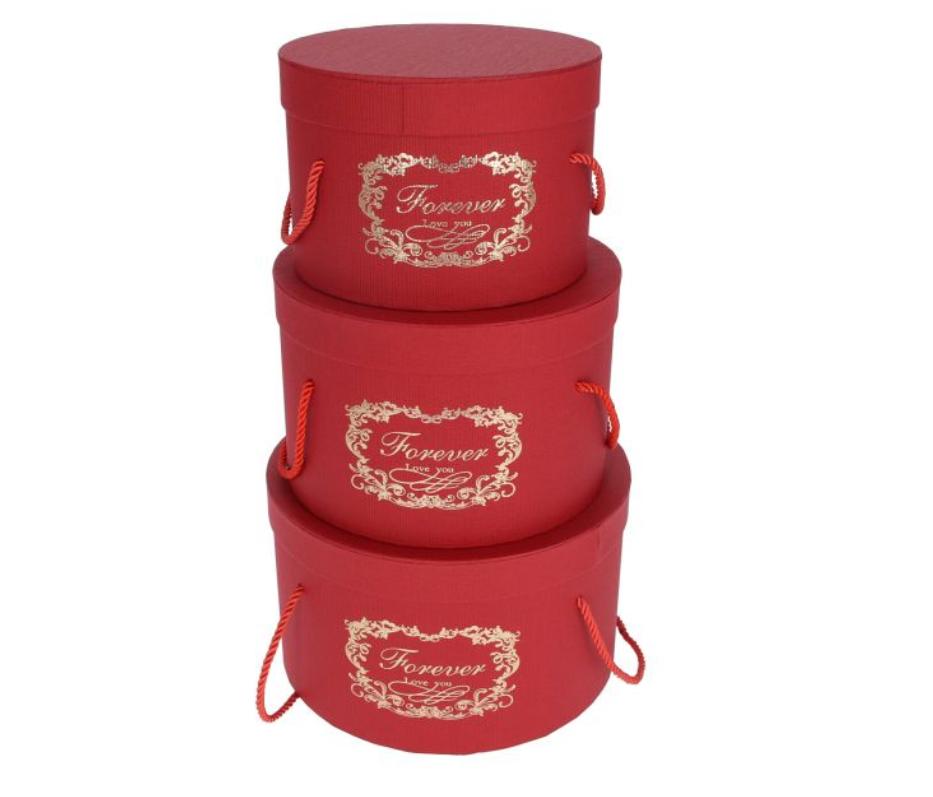 Flower box - sada 3ks, červená