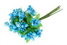 Přízdoby s perličkou x12 - modrá