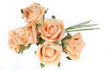 Růže pěnová x6 - sv. oranžová