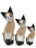 Kočka dřevo S/3 - krémová