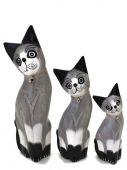 Kočka dřevo S/3 - šedá