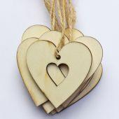 Srdce dřevo S/20 - přírodní