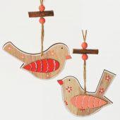 Ptáček dřevo závěs - MIX