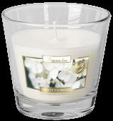 Svíčka ve skle - bílé květy